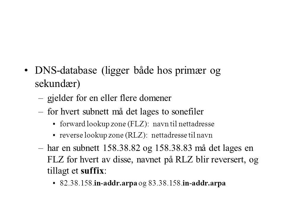 DNS-database (ligger både hos primær og sekundær) –gjelder for en eller flere domener –for hvert subnett må det lages to sonefiler forward lookup zone