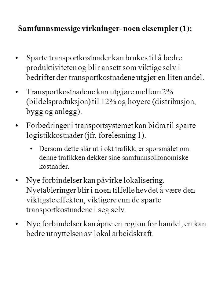 Samfunnsmessige virkninger- noen eksempler (1): Sparte transportkostnader kan brukes til å bedre produktiviteten og blir ansett som viktige selv i bed