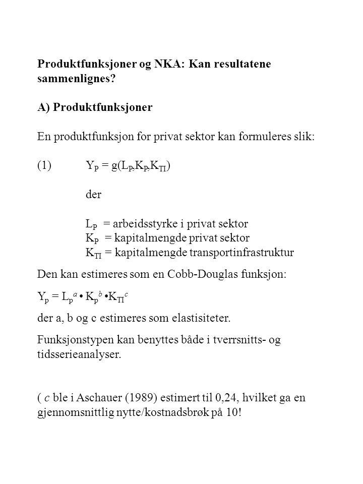 Produktfunksjoner og NKA: Kan resultatene sammenlignes? A) Produktfunksjoner En produktfunksjon for privat sektor kan formuleres slik: (1)Y P = g(L P,