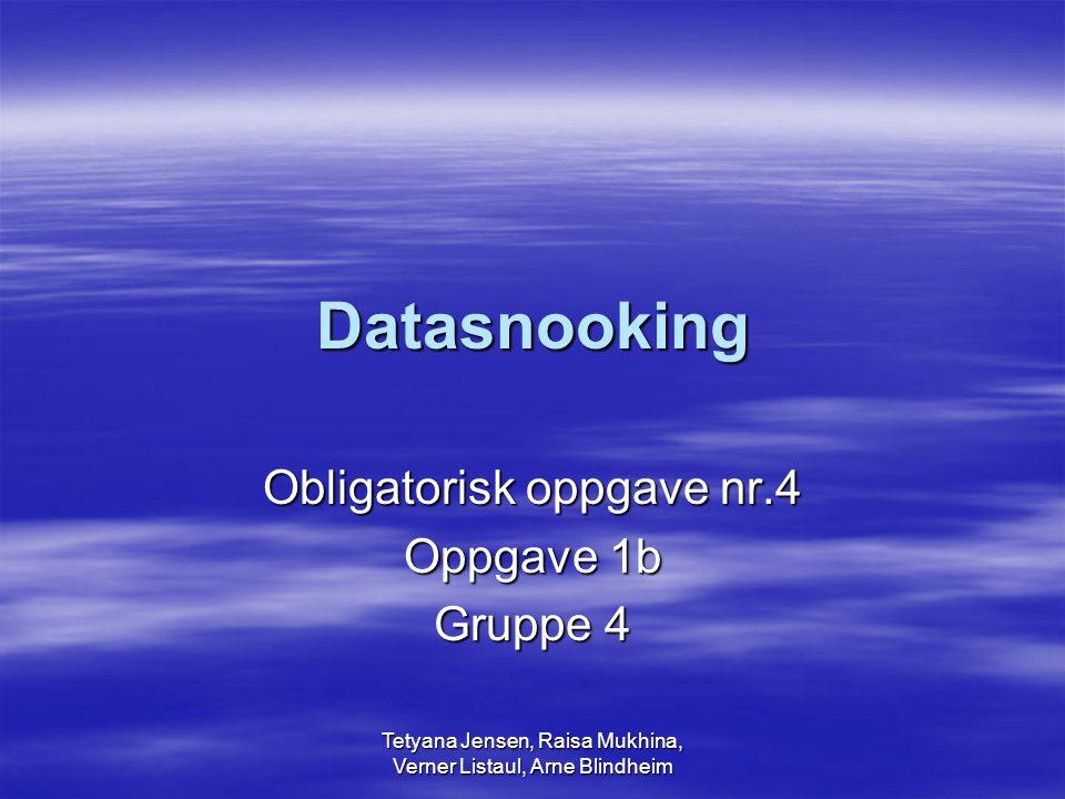 Tetyana Jensen, Raisa Mukhina, Verner Listaul, Arne Blindheim Datasnooking Obligatorisk oppgave nr.4 Oppgave 1b Gruppe 4