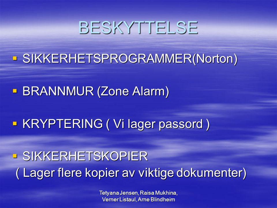 Tetyana Jensen, Raisa Mukhina, Verner Listaul, Arne Blindheim BESKYTTELSE  SIKKERHETSPROGRAMMER(Norton)  BRANNMUR (Zone Alarm)  KRYPTERING ( Vi lag