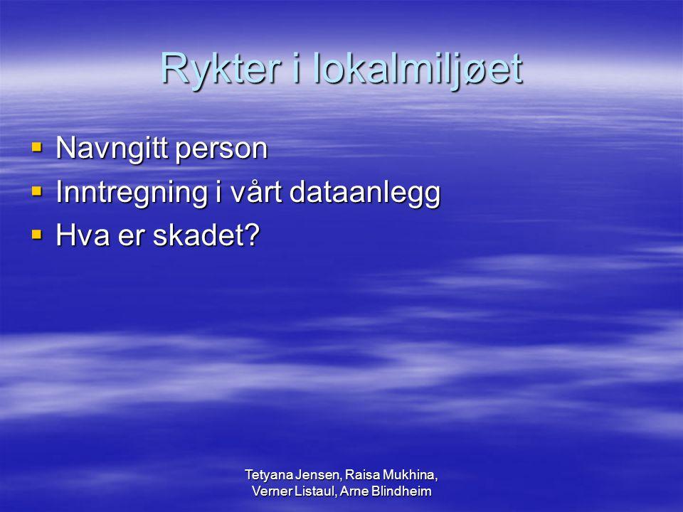 Tetyana Jensen, Raisa Mukhina, Verner Listaul, Arne Blindheim Rykter i lokalmiljøet  Navngitt person  Inntregning i vårt dataanlegg  Hva er skadet?