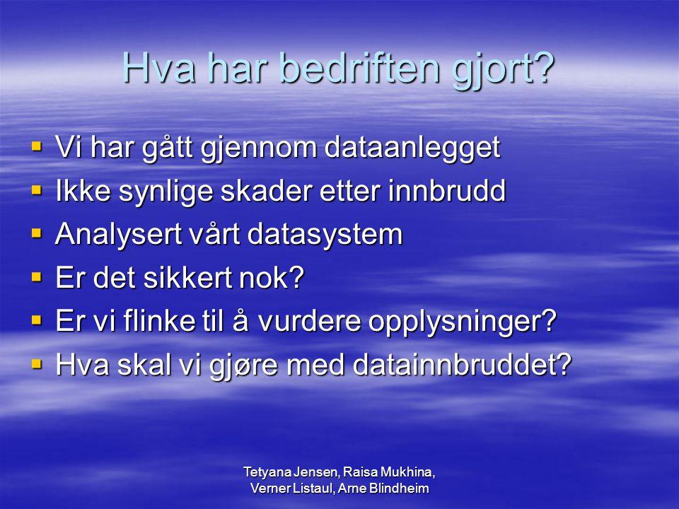Tetyana Jensen, Raisa Mukhina, Verner Listaul, Arne Blindheim Hva har bedriften gjort.