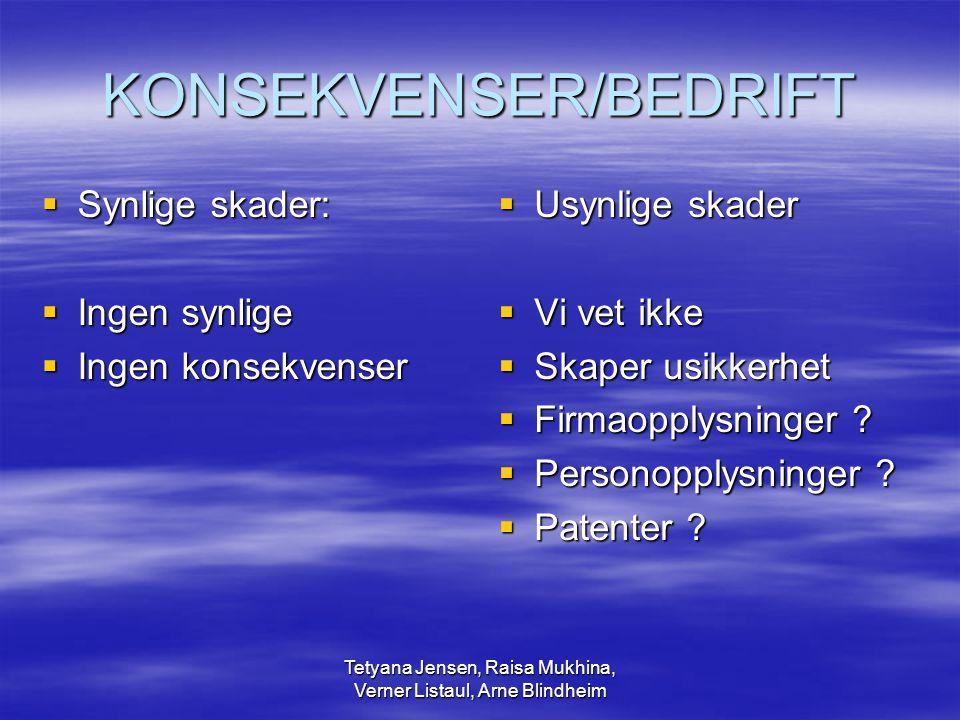 Tetyana Jensen, Raisa Mukhina, Verner Listaul, Arne Blindheim Konsekvenser - anmeldelse  Erstatning for eventuell skade  Preventiv virkning – nye innbrudd