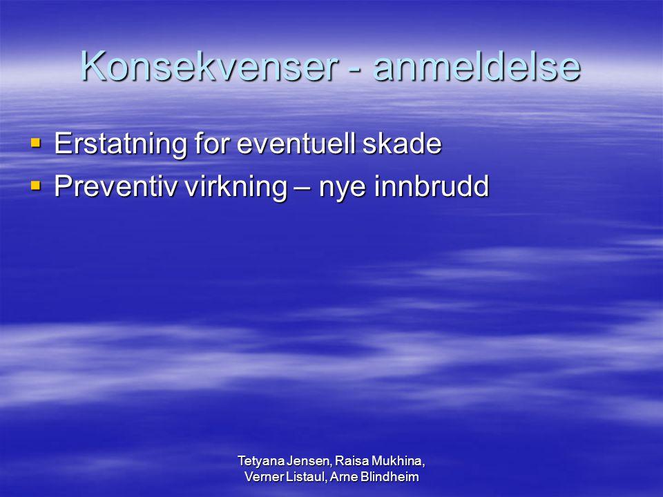 Tetyana Jensen, Raisa Mukhina, Verner Listaul, Arne Blindheim Konsekvenser - anmeldelse  Erstatning for eventuell skade  Preventiv virkning – nye in