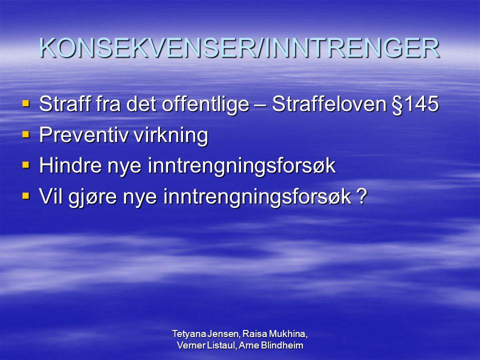 Tetyana Jensen, Raisa Mukhina, Verner Listaul, Arne Blindheim KONSEKVENSER/INNTRENGER  Straff fra det offentlige – Straffeloven §145  Preventiv virk
