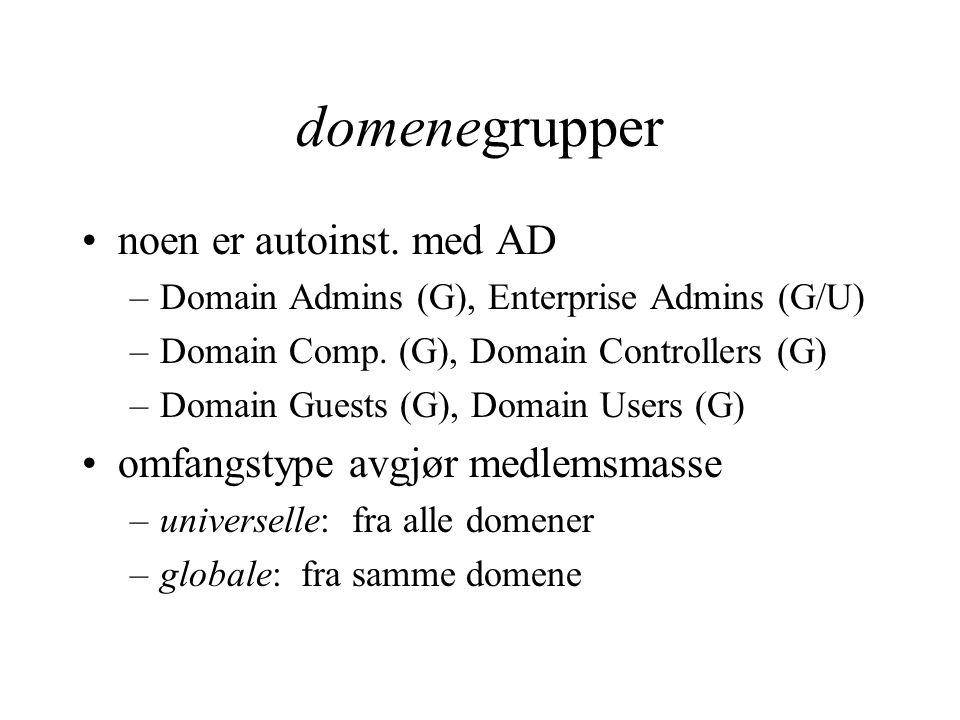 domenegrupper noen er autoinst. med AD –Domain Admins (G), Enterprise Admins (G/U) –Domain Comp.