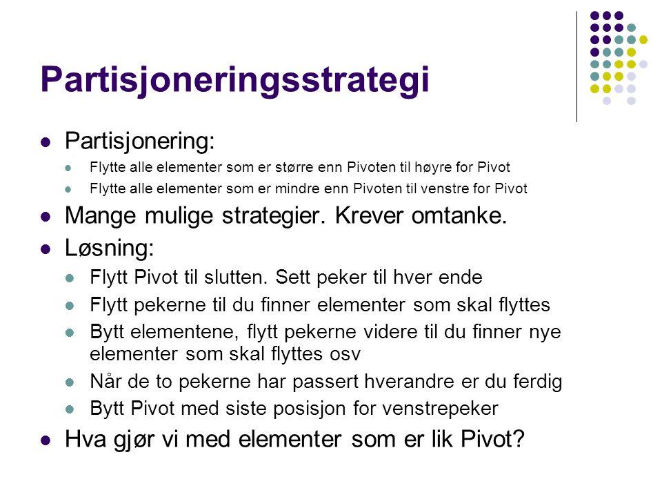 Partisjoneringsstrategi Partisjonering: Flytte alle elementer som er større enn Pivoten til høyre for Pivot Flytte alle elementer som er mindre enn Pivoten til venstre for Pivot Mange mulige strategier.