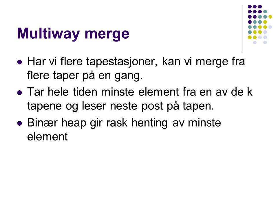 Multiway merge Har vi flere tapestasjoner, kan vi merge fra flere taper på en gang.