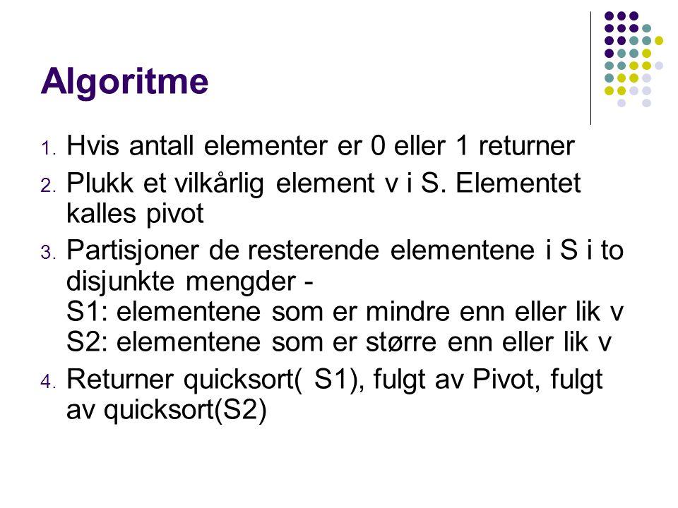 Algoritme 1. Hvis antall elementer er 0 eller 1 returner 2.