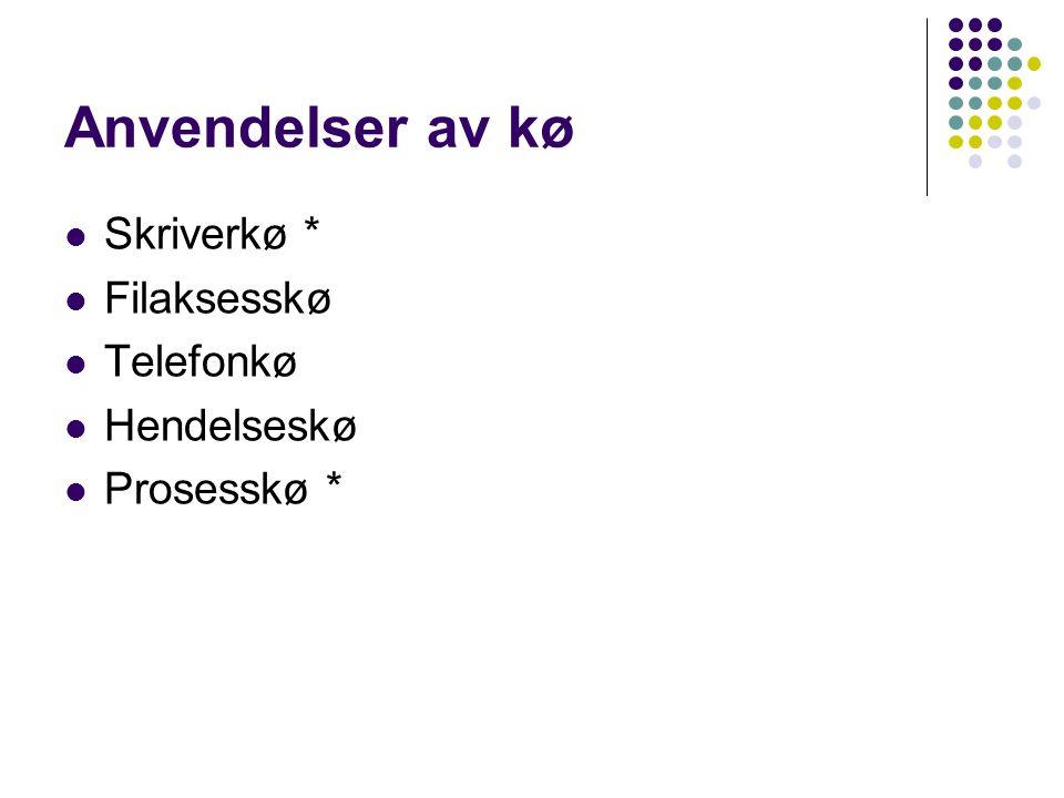Anvendelser av kø Skriverkø * Filaksesskø Telefonkø Hendelseskø Prosesskø *