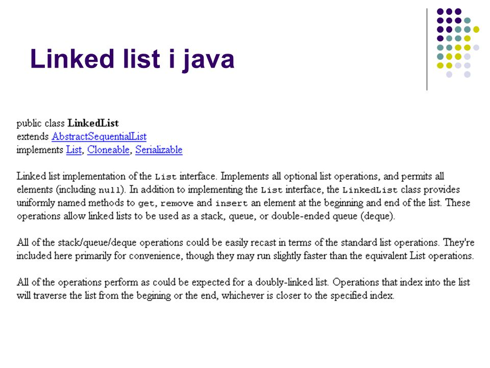 Linked list i java