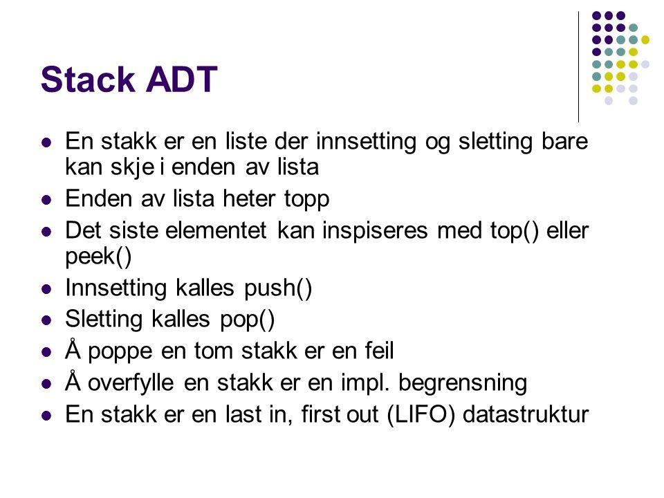 Stack ADT En stakk er en liste der innsetting og sletting bare kan skje i enden av lista Enden av lista heter topp Det siste elementet kan inspiseres med top() eller peek() Innsetting kalles push() Sletting kalles pop() Å poppe en tom stakk er en feil Å overfylle en stakk er en impl.