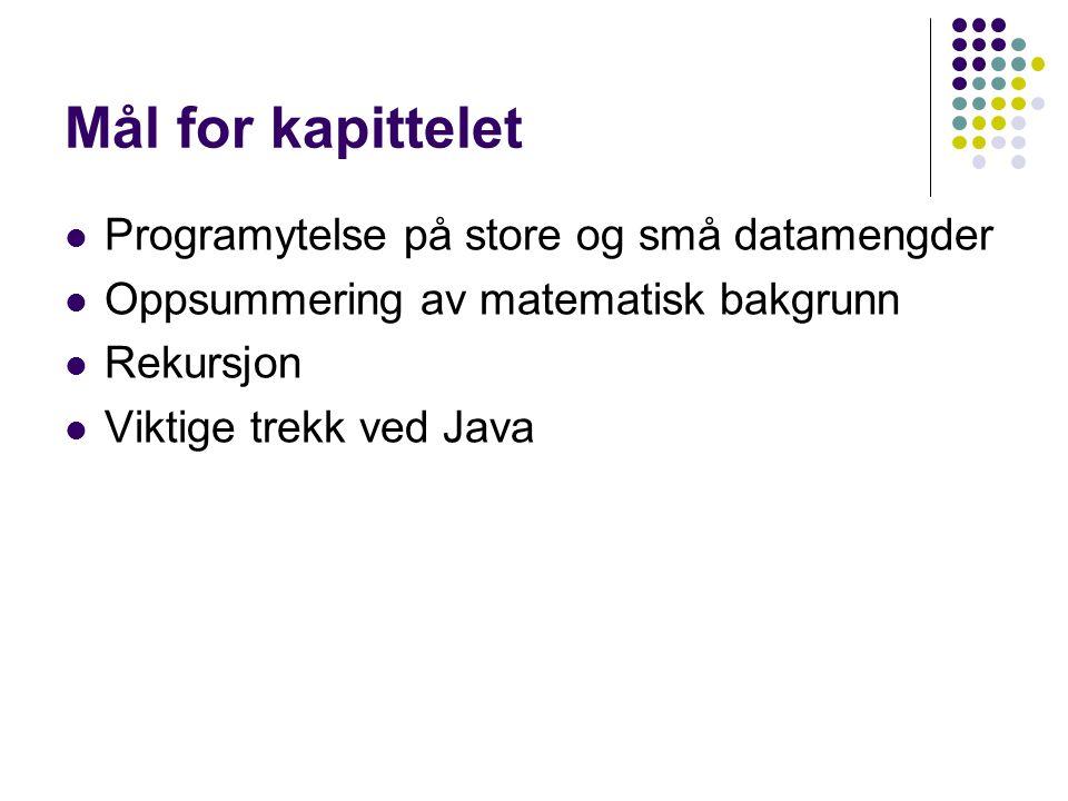Mål for kapittelet Programytelse på store og små datamengder Oppsummering av matematisk bakgrunn Rekursjon Viktige trekk ved Java