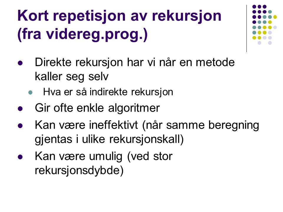 Kort repetisjon av rekursjon (fra videreg.prog.) Direkte rekursjon har vi når en metode kaller seg selv Hva er så indirekte rekursjon Gir ofte enkle algoritmer Kan være ineffektivt (når samme beregning gjentas i ulike rekursjonskall) Kan være umulig (ved stor rekursjonsdybde)