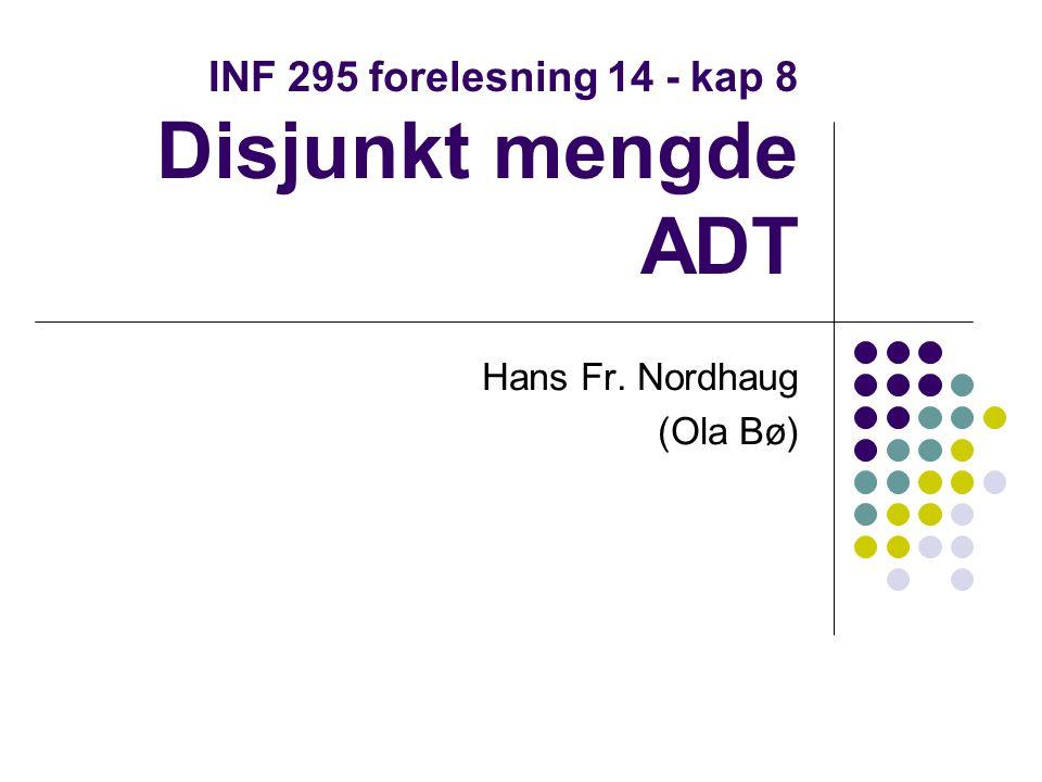 Disjunkt mengde ADT Mange anvendelser i grafteori Enkelt å implementere raske løsninger Forståelse krever at man kjenner til det matematiske begrepet ekvivalensrelasjon