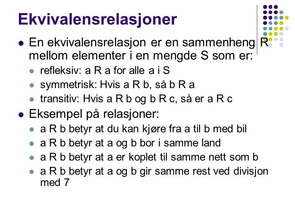 Ekvivalensrelasjoner En ekvivalensrelasjon er en sammenheng R mellom elementer i en mengde S som er: refleksiv: a R a for alle a i S symmetrisk: Hvis a R b, så b R a transitiv: Hvis a R b og b R c, så er a R c Eksempel på relasjoner: a R b betyr at du kan kjøre fra a til b med bil a R b betyr at a og b bor i samme land a R b betyr at a er koplet til samme nett som b a R b betyr at a og b gir samme rest ved divisjon med 7