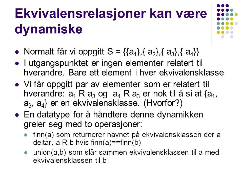 Ekvivalensrelasjoner kan være dynamiske Normalt får vi oppgitt S = {{a 1 },{ a 2 },{ a 3 },{ a 4 }} I utgangspunktet er ingen elementer relatert til hverandre.