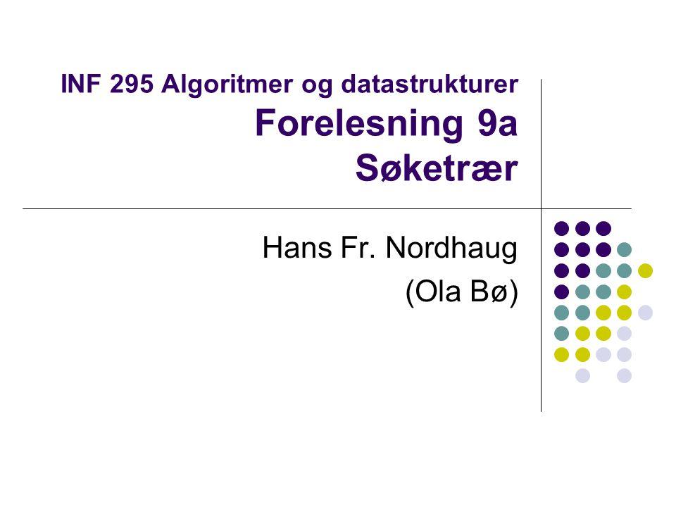 INF 295 Algoritmer og datastrukturer Forelesning 9a Søketrær Hans Fr. Nordhaug (Ola Bø)