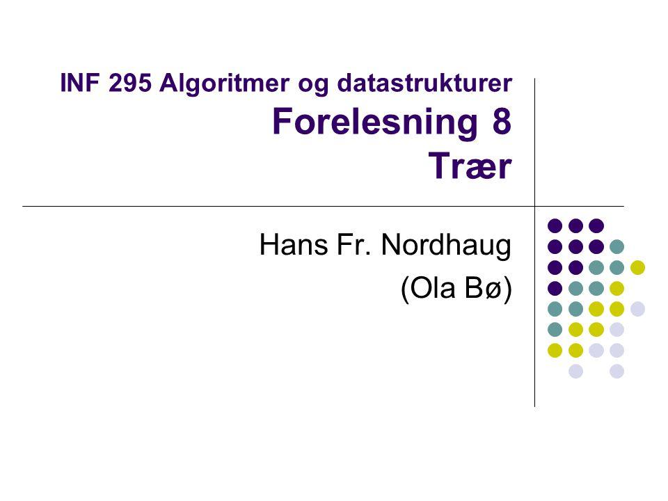 Trær Et tre er en samling noder, som kan være tom eller bestå av en rotnode r og null eller flere subtrær.