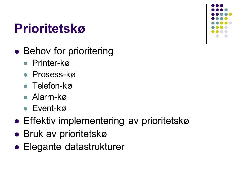 Prioritetskø Behov for prioritering Printer-kø Prosess-kø Telefon-kø Alarm-kø Event-kø Effektiv implementering av prioritetskø Bruk av prioritetskø Elegante datastrukturer