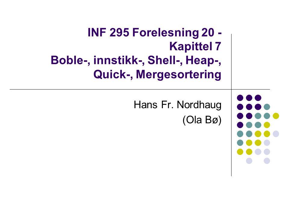 Sortering Sortering av array - intern sortering Ekstern sortering nødvendig ved store datamengder Kjøretider intern sortering Flere enkle algoritmer O(N 2 ) Shellsort o(N 2 ) svært rask i praksis Mer kompliserte algoritmer O(NlogN) Alle generelle sorteringsalgoritmer krever minst Ω(NlogN) sammenligninger Gir ideer til kodeoptimering og algoritmedesign