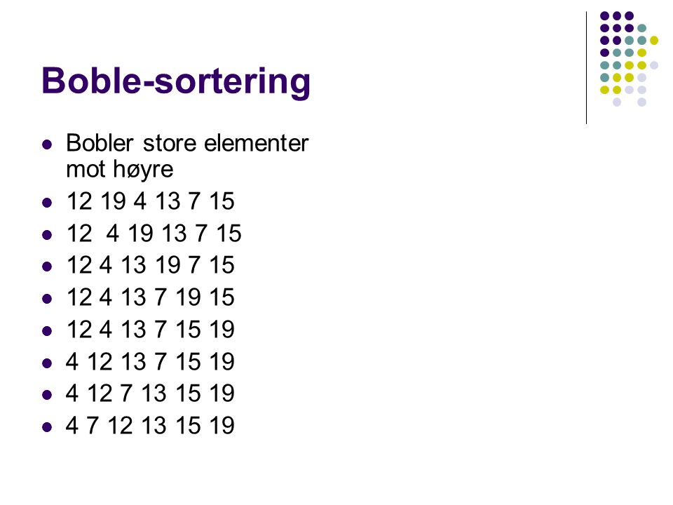 Boble-sortering Bobler store elementer mot høyre 12 19 4 13 7 15 12 4 19 13 7 15 12 4 13 19 7 15 12 4 13 7 19 15 12 4 13 7 15 19 4 12 13 7 15 19 4 12