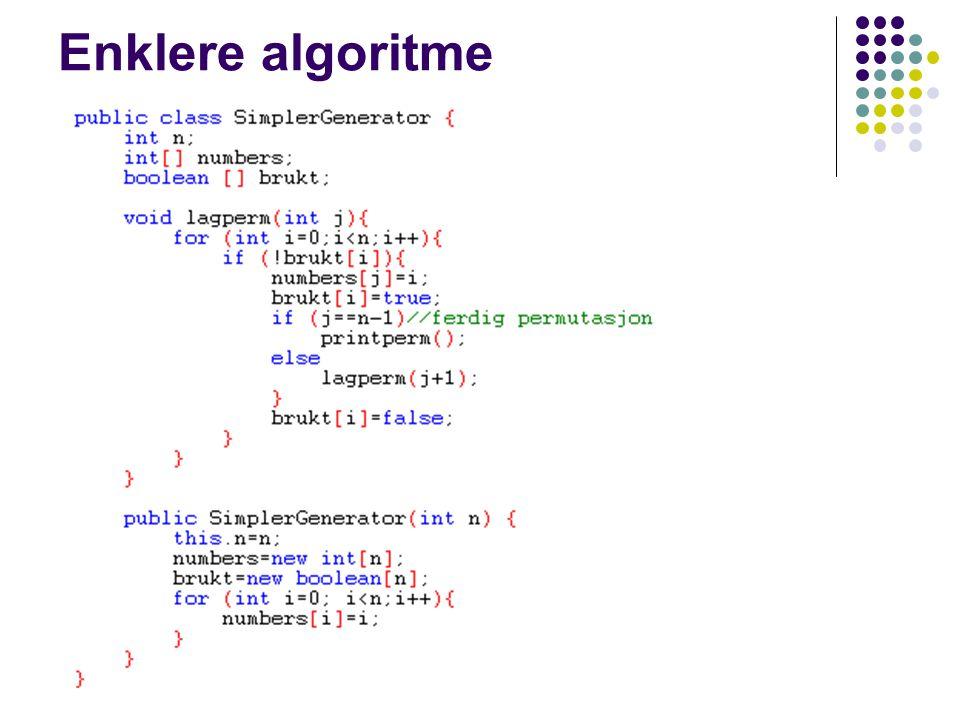 Enklere algoritme