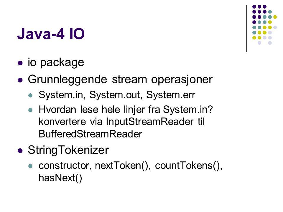 Java-4 IO io package Grunnleggende stream operasjoner System.in, System.out, System.err Hvordan lese hele linjer fra System.in.