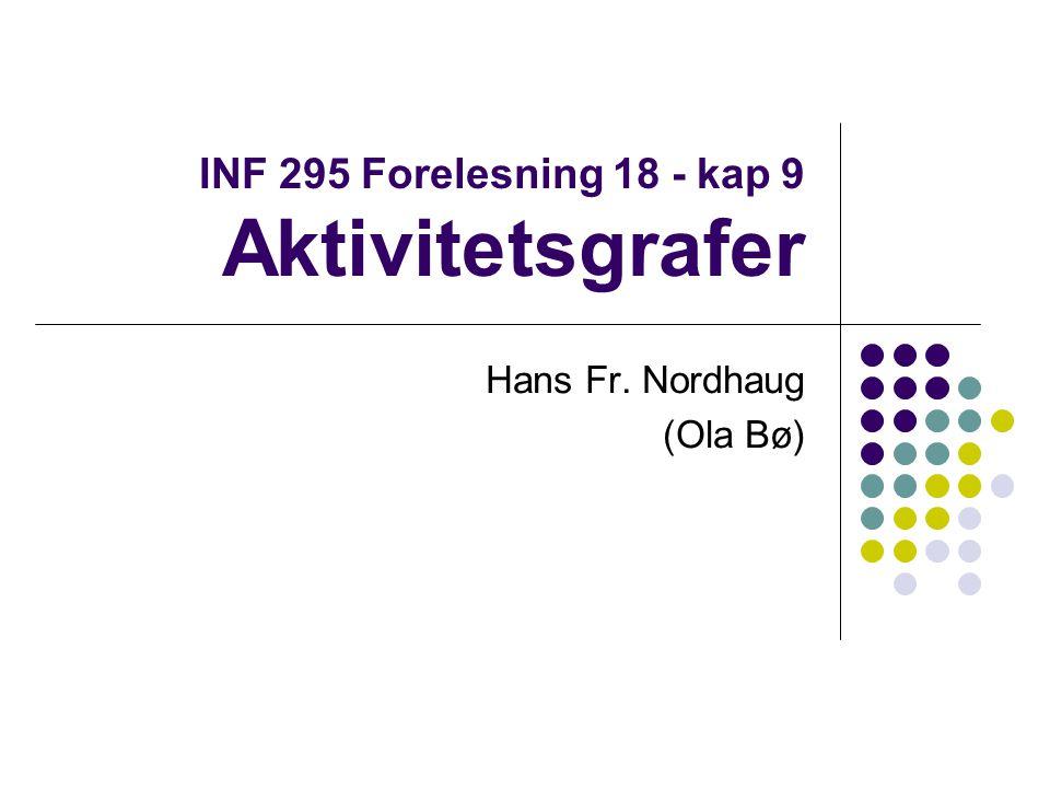 INF 295 Forelesning 18 - kap 9 Aktivitetsgrafer Hans Fr. Nordhaug (Ola Bø)