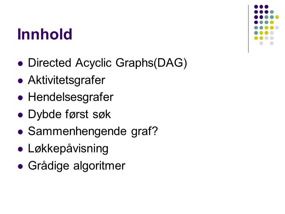 Innhold Directed Acyclic Graphs(DAG) Aktivitetsgrafer Hendelsesgrafer Dybde først søk Sammenhengende graf.