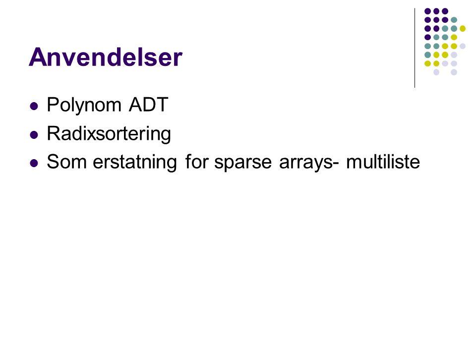 Anvendelser Polynom ADT Radixsortering Som erstatning for sparse arrays- multiliste