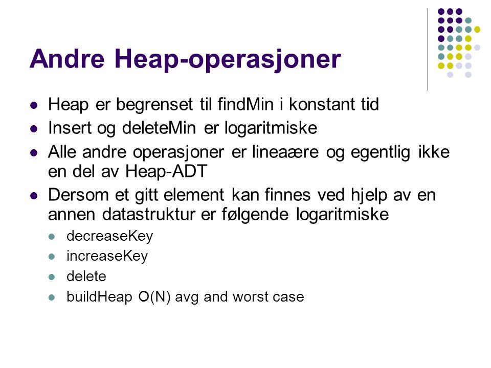 Andre Heap-operasjoner Heap er begrenset til findMin i konstant tid Insert og deleteMin er logaritmiske Alle andre operasjoner er lineaære og egentlig
