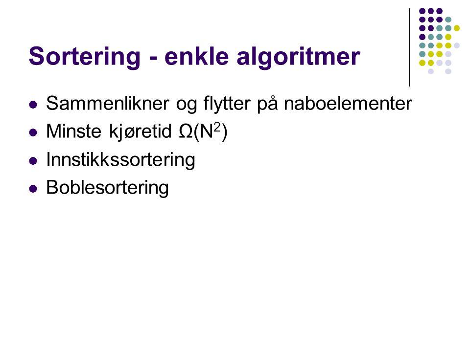 Sortering - enkle algoritmer Sammenlikner og flytter på naboelementer Minste kjøretid Ω(N 2 ) Innstikkssortering Boblesortering