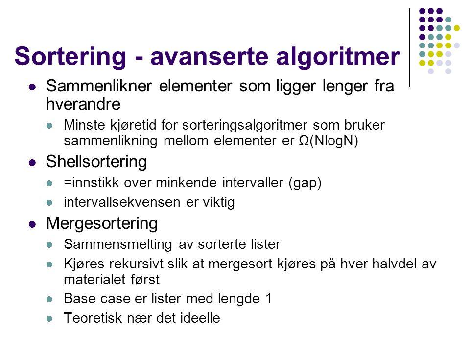 Sortering - avanserte algoritmer Sammenlikner elementer som ligger lenger fra hverandre Minste kjøretid for sorteringsalgoritmer som bruker sammenlikn