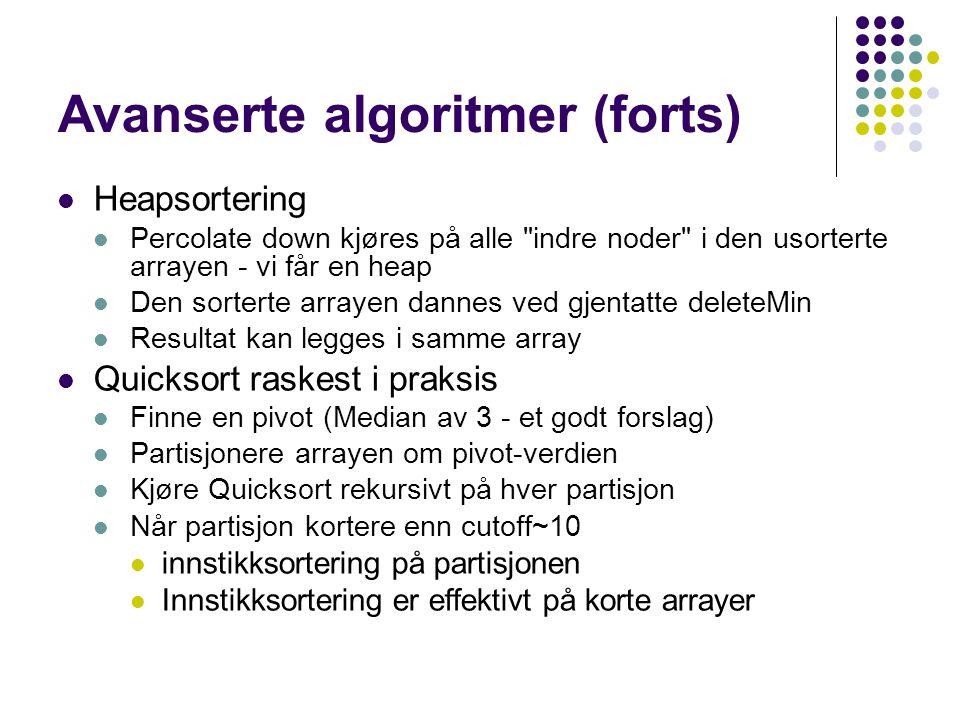 Avanserte algoritmer (forts) Heapsortering Percolate down kjøres på alle