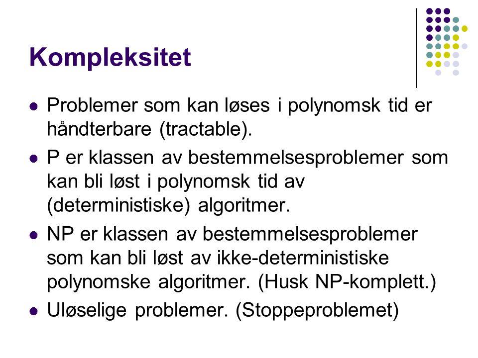 Kompleksitet Problemer som kan løses i polynomsk tid er håndterbare (tractable). P er klassen av bestemmelsesproblemer som kan bli løst i polynomsk ti