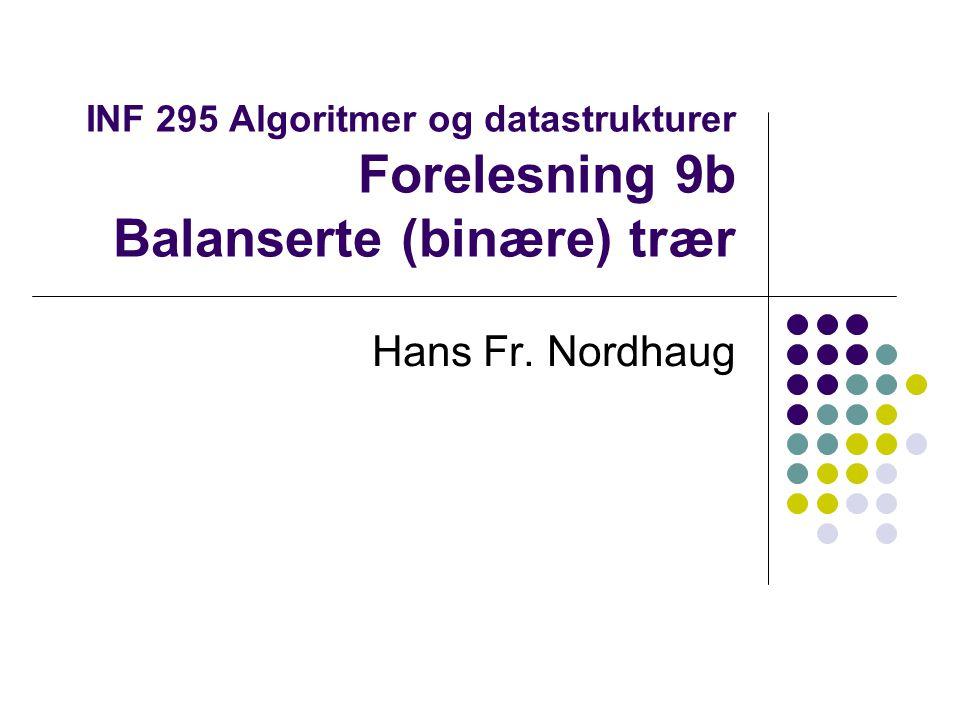 Søketre - ADT Binære søketrær Binærtrær kan brukes til å implementere effektiv søking I binære søketrær gjelder denne egenskapen for enhver node med verdi x i treet: Alle noder i venstre undertre av noden har lavere verdi og alle noder i høyre undertre har høyere verdi Forutsetter at elementene som lagres i treet kan ordnes på en eller annen måte