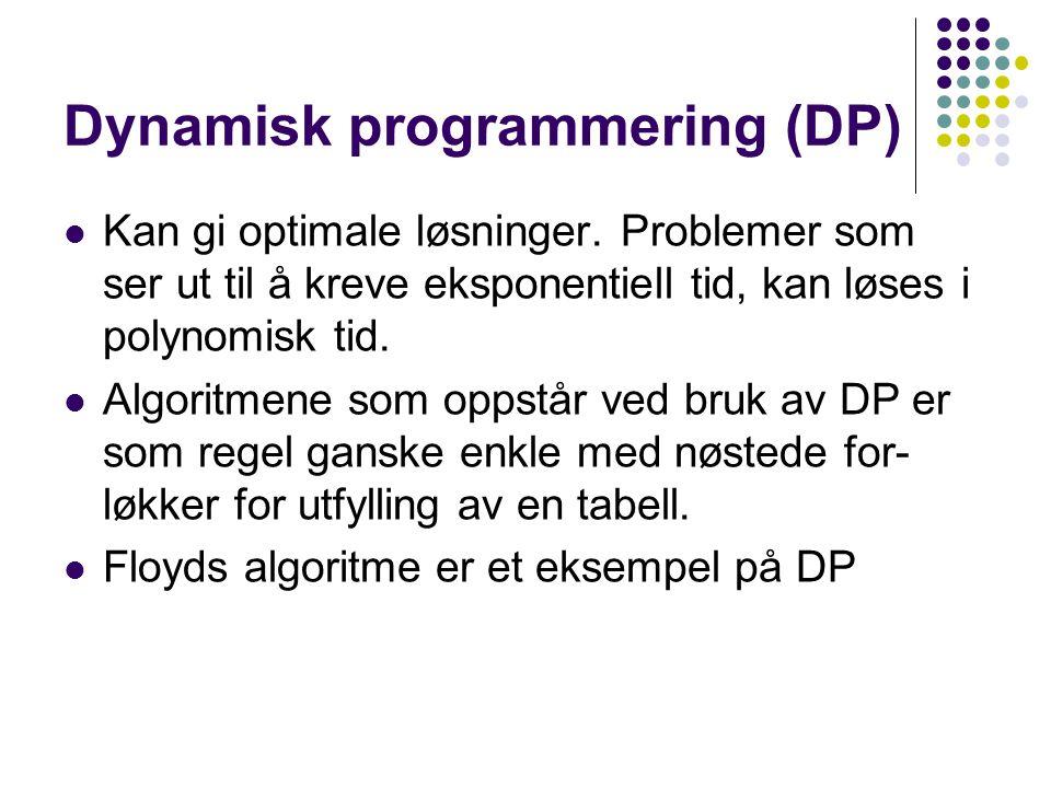 Dynamisk programmering Problemet må kunne deles opp (gjentatte ganger) i enkle delproblem som kan defineres lett og dermed lagres i en tabell.