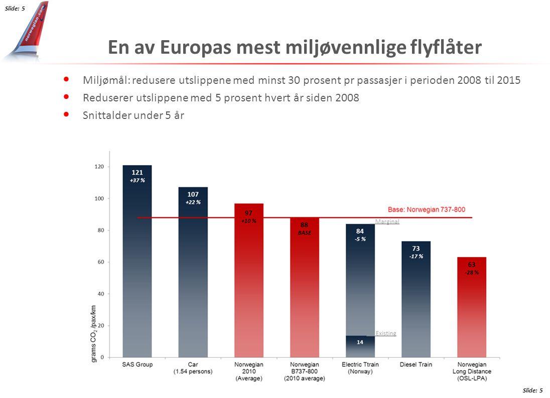 En av Europas mest miljøvennlige flyflåter Miljømål: redusere utslippene med minst 30 prosent pr passasjer i perioden 2008 til 2015 Reduserer utslippe