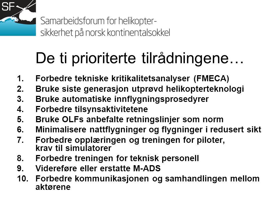De ti prioriterte tilrådningene… 1.Forbedre tekniske kritikalitetsanalyser (FMECA) 2.Bruke siste generasjon utprøvd helikopterteknologi 3.Bruke automatiske innflygningsprosedyrer 4.Forbedre tilsynsaktivitetene 5.Bruke OLFs anbefalte retningslinjer som norm 6.Minimalisere nattflygninger og flygninger i redusert sikt 7.Forbedre opplæringen og treningen for piloter, krav til simulatorer 8.Forbedre treningen for teknisk personell 9.Videreføre eller erstatte M-ADS 10.Forbedre kommunikasjonen og samhandlingen mellom aktørene