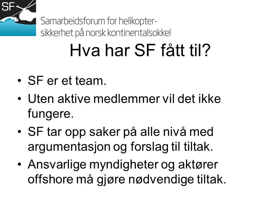 Hva har SF fått til.SF er et team. Uten aktive medlemmer vil det ikke fungere.