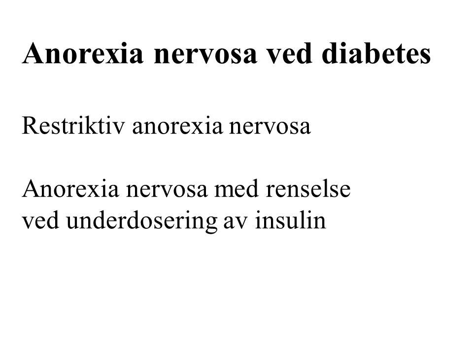 Anorexia nervosa ved diabetes Restriktiv anorexia nervosa Anorexia nervosa med renselse ved underdosering av insulin