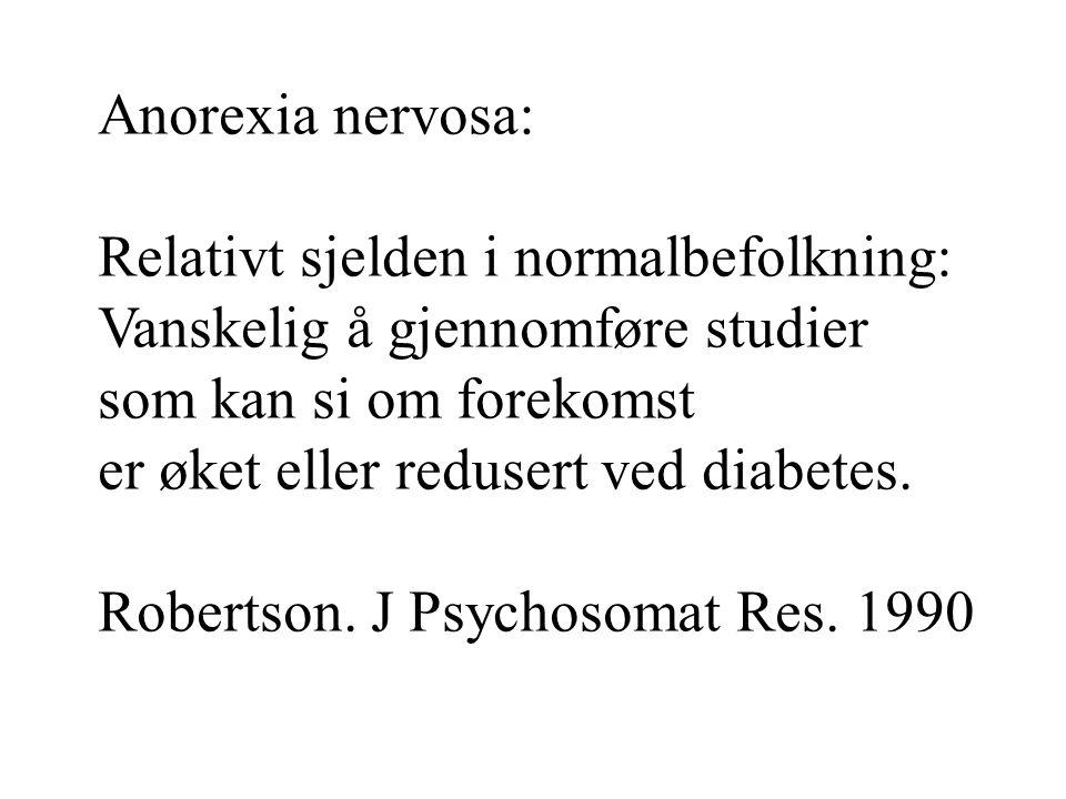 Anorexia nervosa: Relativt sjelden i normalbefolkning: Vanskelig å gjennomføre studier som kan si om forekomst er øket eller redusert ved diabetes. Ro
