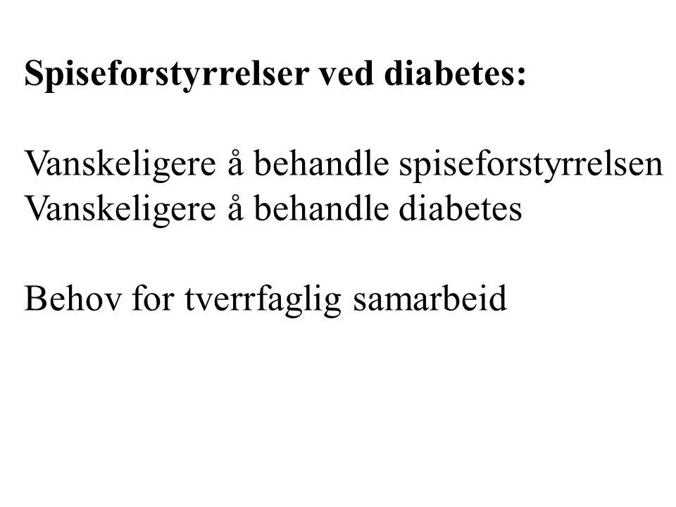 Spiseforstyrrelser ved diabetes: Underdosering av insulin Overspisingslidelse Bulimia nervosa Anorexia nervosa