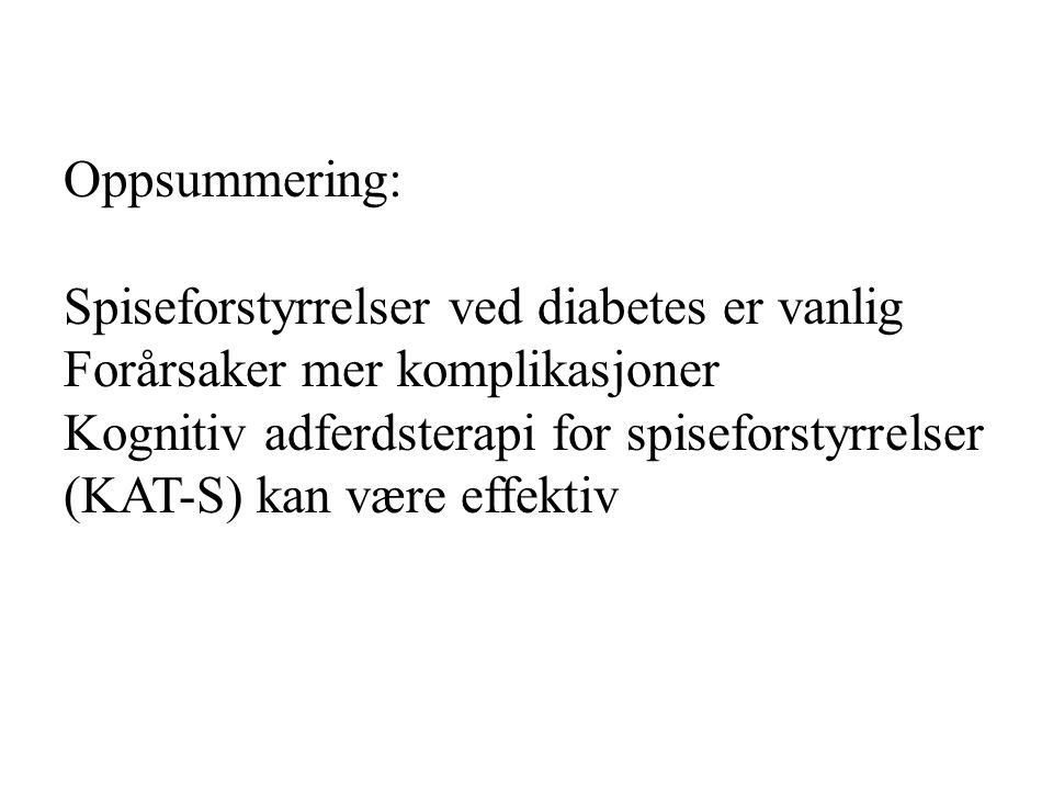 Oppsummering: Spiseforstyrrelser ved diabetes er vanlig Forårsaker mer komplikasjoner Kognitiv adferdsterapi for spiseforstyrrelser (KAT-S) kan være e