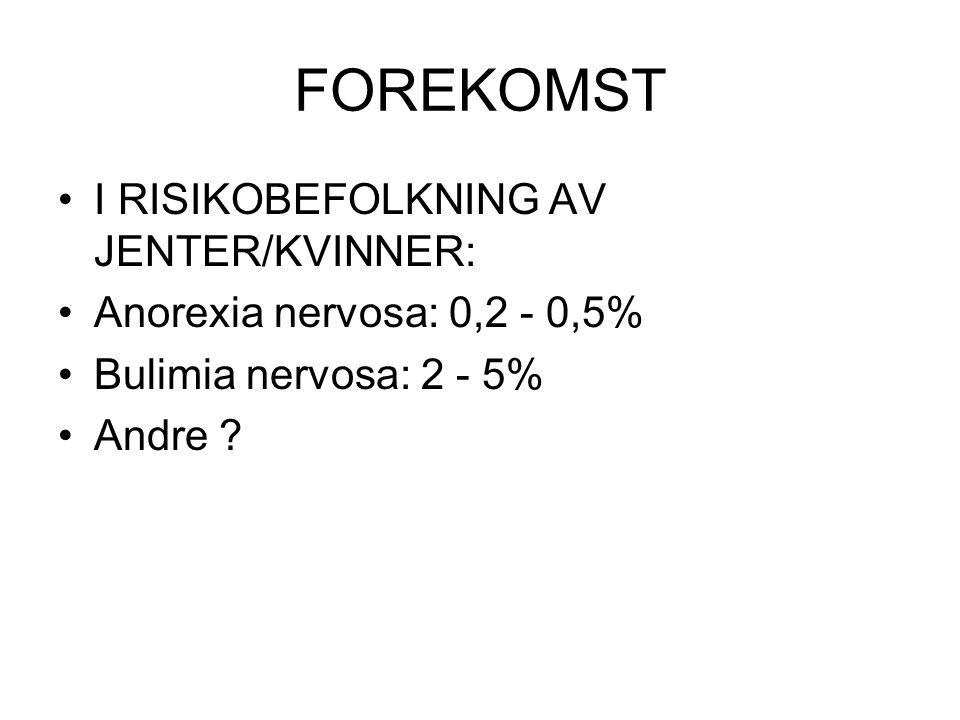 FOREKOMST I RISIKOBEFOLKNING AV JENTER/KVINNER: Anorexia nervosa: 0,2 - 0,5% Bulimia nervosa: 2 - 5% Andre ?