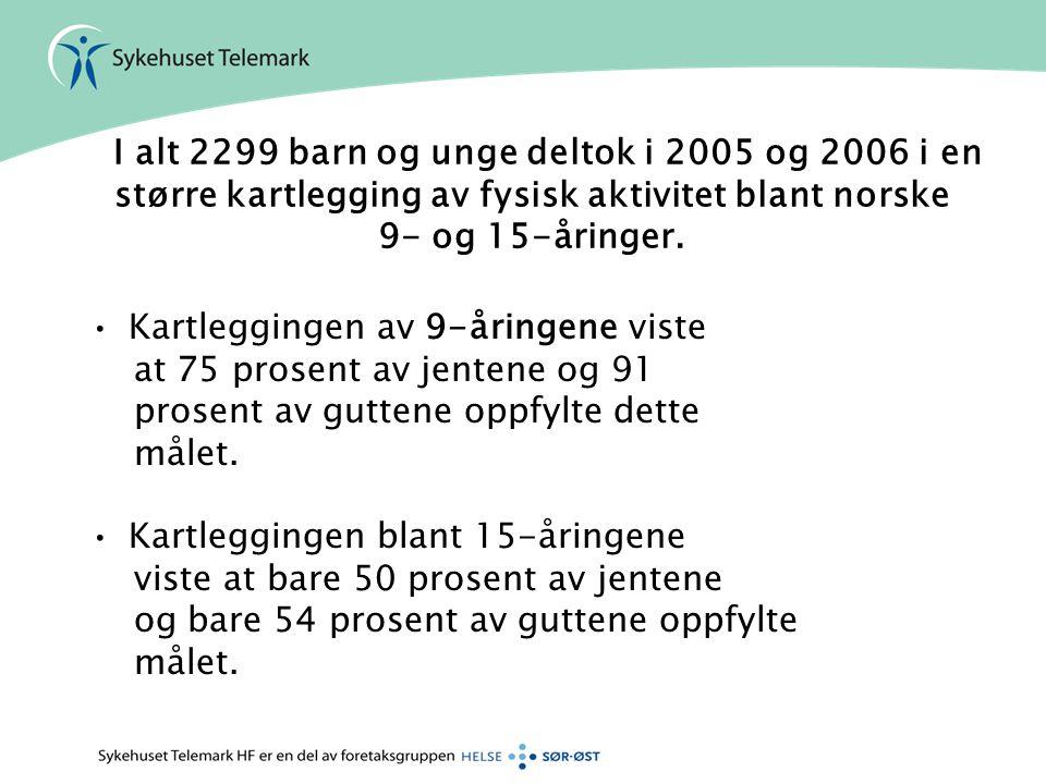 I alt 2299 barn og unge deltok i 2005 og 2006 i en større kartlegging av fysisk aktivitet blant norske 9- og 15-åringer. Kartleggingen av 9-åringene v