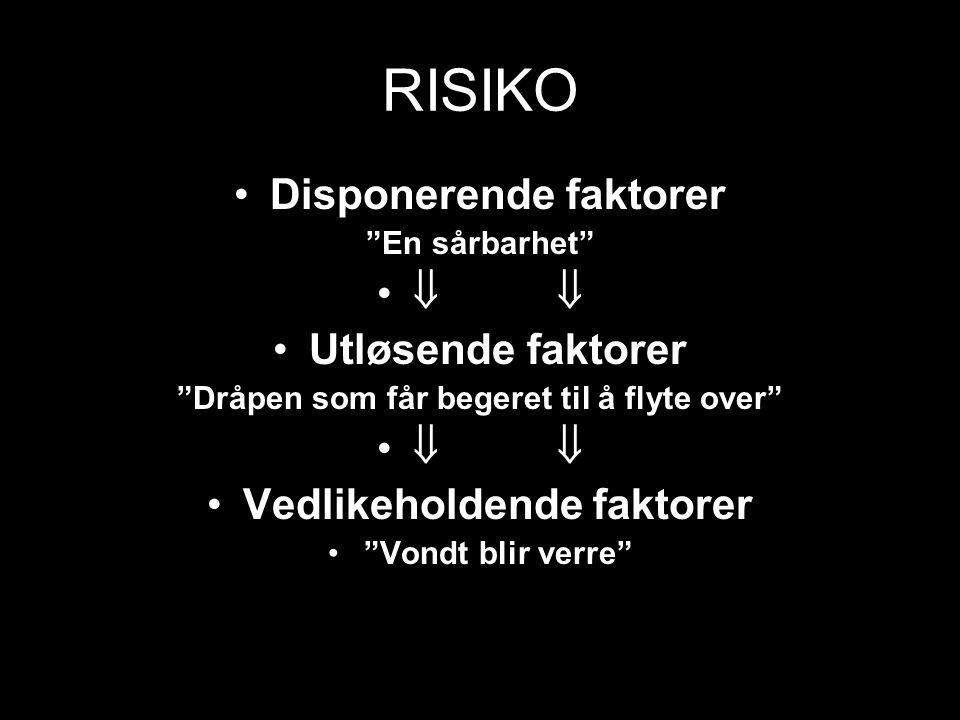 """RISIKO Disponerende faktorer """"En sårbarhet""""  Utløsende faktorer """"Dråpen som får begeret til å flyte over""""  Vedlikeholdende faktorer """"Vondt blir verr"""