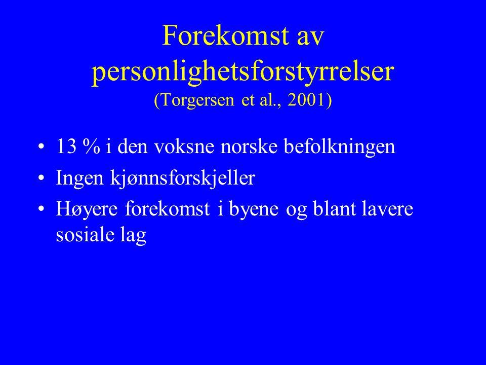 Forekomst av personlighetsforstyrrelser (Torgersen et al., 2001) 13 % i den voksne norske befolkningen Ingen kjønnsforskjeller Høyere forekomst i byene og blant lavere sosiale lag